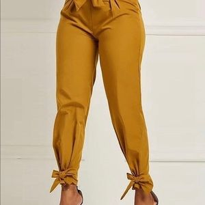 Solid Bow Tie High Waist Pants